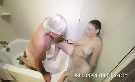 Horny Big Tit Teen Fucks and Spanks Stepdad in Shower