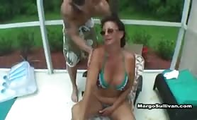 Margo fucked by stepson at the pool