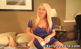 Kylie Deville - Trophy wife strokes her new sons cock
