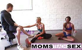 Step Mom teaches Step daughter her first time threesome