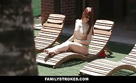 FamilyStrokes - Topless Step-Sis Blackmailed By Horny Step-Bro