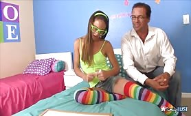 Family Lust - Step Dad cums on her asshole