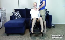Brittany Lynn - Blind Amputee Mom in Wheelchair gets Feet Fucked then gives Blowjob