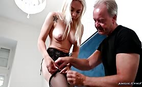 Angie Lynx - My Dad is making me wear my Mom's lingerie and high heels
