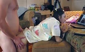Uncensored little 18yo Asian Teen Sucks and Fucks Big White Dick Daddy