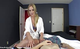 Rachel Cavalli - Hot Blonde Mom Finds her Panties and Convinces Son its okay with Pussy
