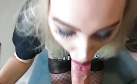 Nympho Sister Gets a Facials after Sucking and Fucking Brothers Cock when Parents are out